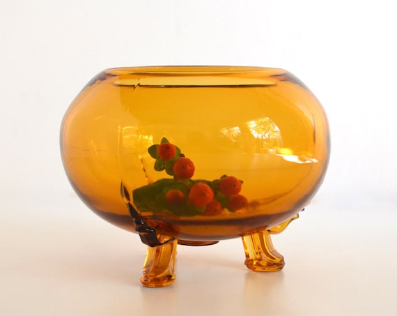 Vintage Round Amber Glass Footed Bowl