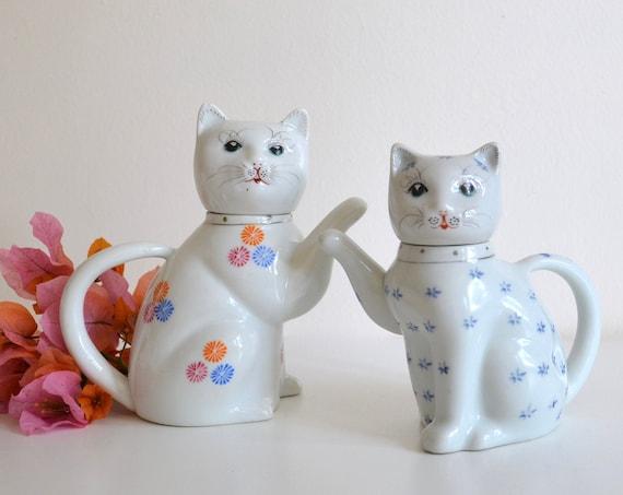 Pair of Vintage Chinese Porcelain Cat Teapots