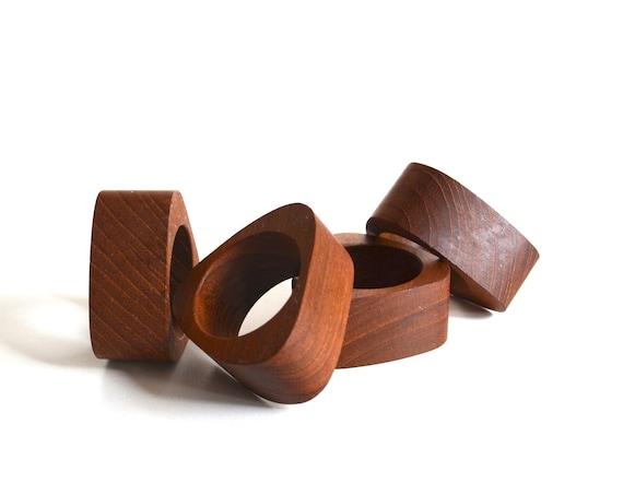 Four Mid Century Teak Napkin Rings