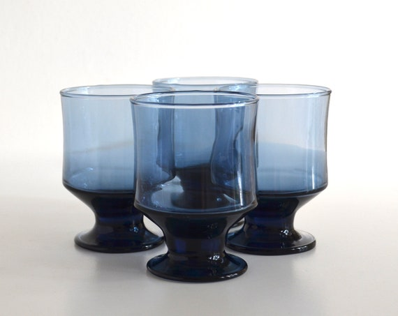 Set of Four Vintage Navy Blue Small Footed Tumblers