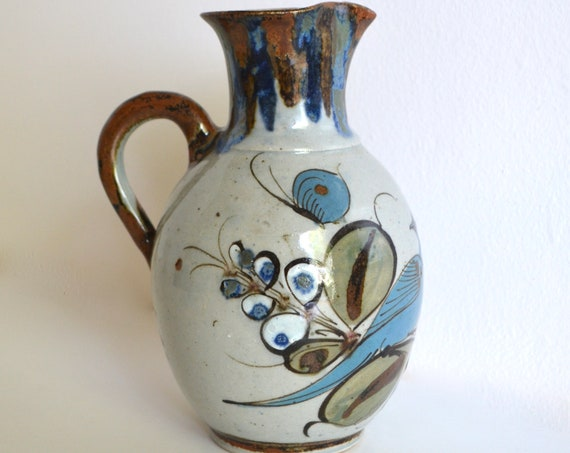 Vintage Hand Painted Mexican Ceramic Pitcher by Ken Edwards