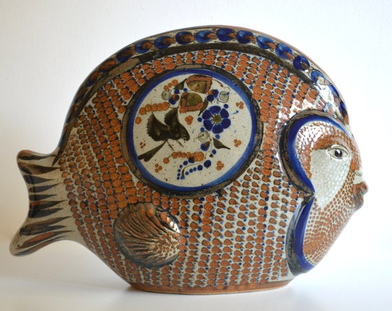 Large Vintage Mexican Ceramic Fish