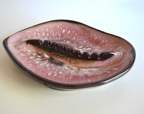 Mid Century Ceramic Plum Colored Ashtray