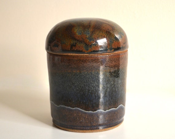Vintage Stoneware Ceramic Covered Jar