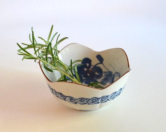 Vintage White with Blue Design Porcelain Japanese Lotus Bowl by Maebata