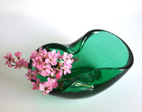 Vintage Green Glass Handblown Dish