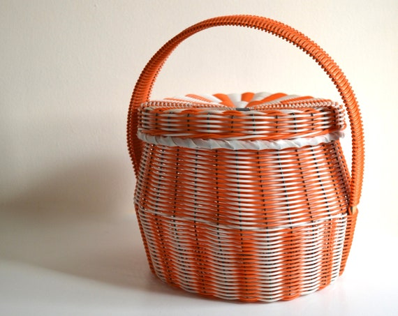 Vintage Orange and White Plastic Wicker Basket