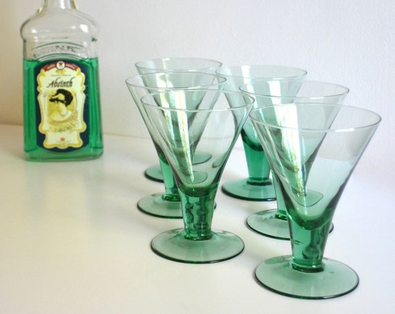 Set of Six Mid Century Glass Dessert Dishes in Mint Green