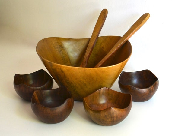 Vintage Wood Salad Bowl Set