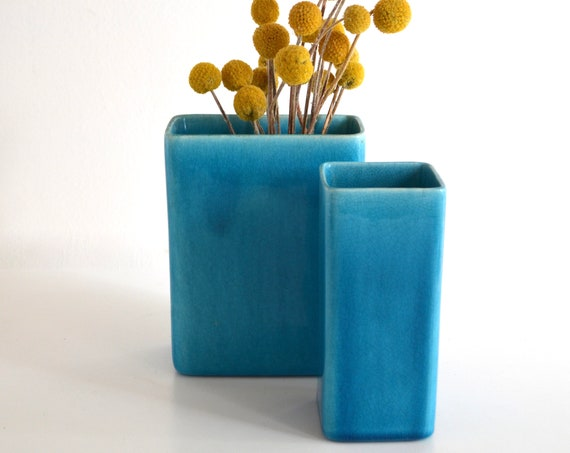 Pair of Mid Century Turquoise Glazed Ceramic Vases by La Mirada