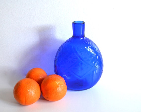 Vintage Cobalt Blue Textured Glass Flask Bottle