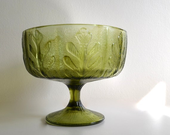 Vintage 1970's Avocado Green Glass Footed Vase by F.T.D.