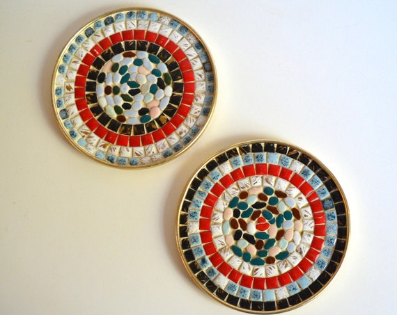 Mid Century Pair of Small Round Tile Trays