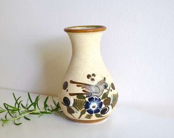 Small Vintage Mexican Bisque Fired Ceramic Vase with Bird