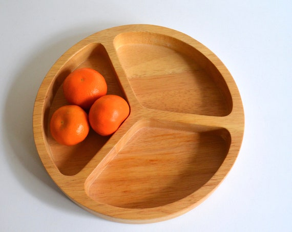 Vintage Three Section Round Bamboo Dish