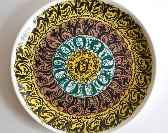 Mid Century Patterned Ceramic Serving Platter from Argentina