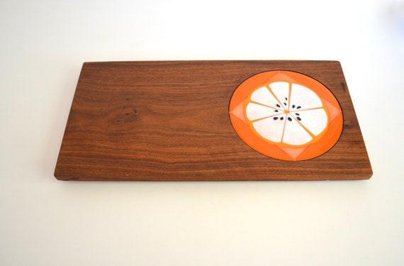 Mid Century Teak Cheese Board with Fruit Slice Design Copper Enamel Trivet