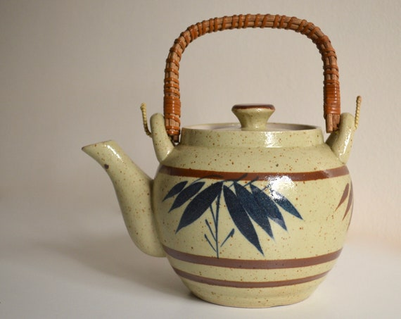 Vintage Asian Stoneware Teapot with Wicker Handle