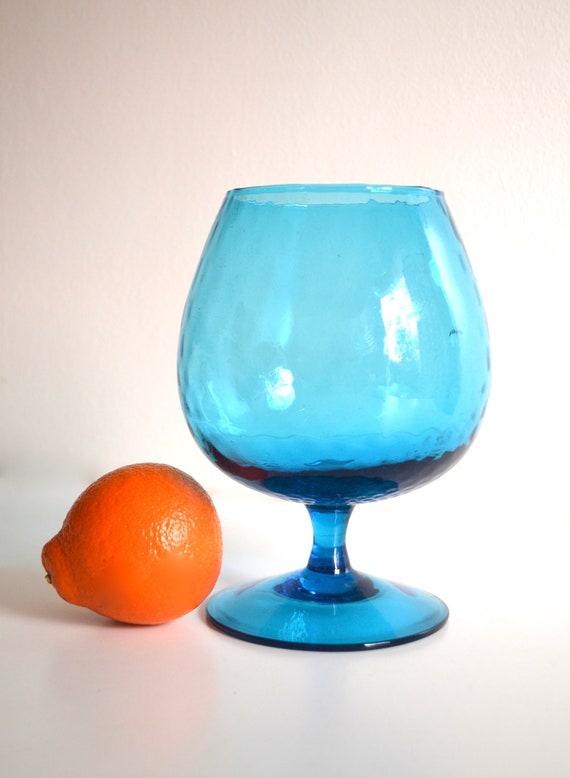 Mid Century Aqua Glass Snifter