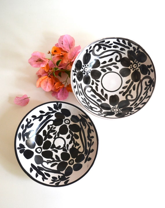Pair of Vintage White and Black Glazed Mexican Ceramic Bowls
