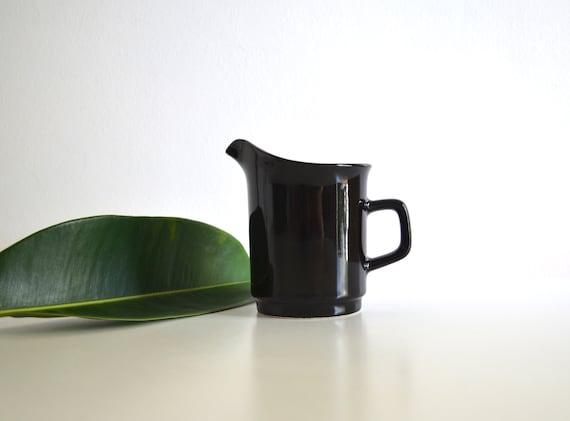 Vintage Japanese Ceramic Black Stoneware Pitcher