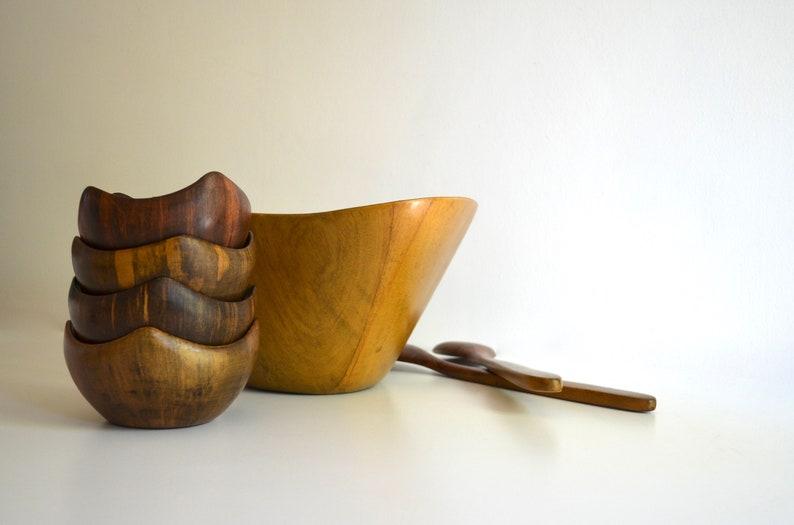 Ensemble de saladier en bois vintage