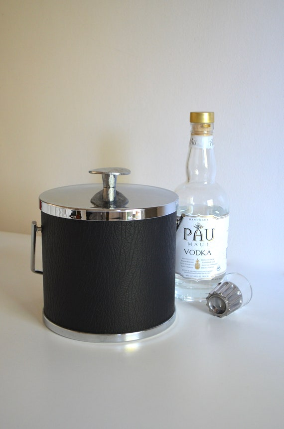 Mid Century Black Vinyl and Chrome Ice Bucket by Serv Master