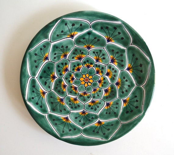 Vintage Green Patterned Ceramic Mexican Plate