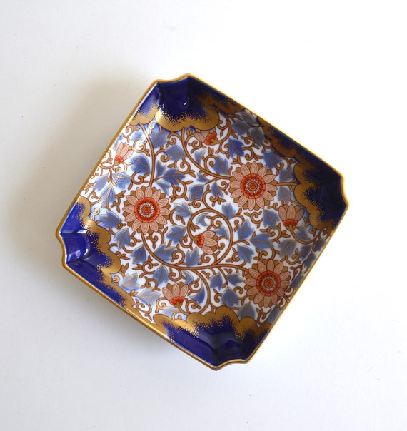 Vintage Porcelain Asian Blue and Gold Square Tray
