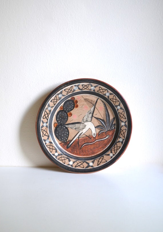Vintage Decorative Mexican Ceramic Bird and Snake Plate