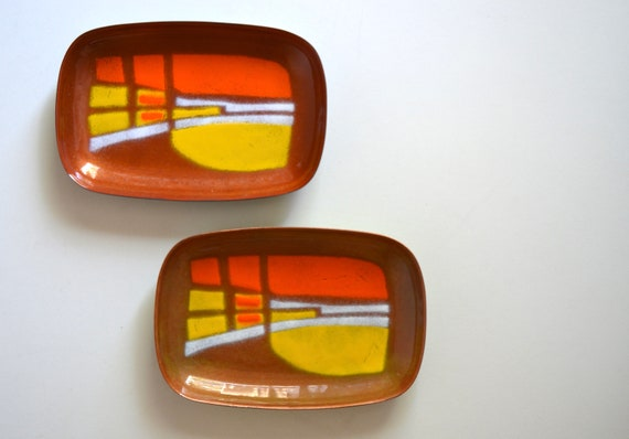 Pair of Small Ellin James Enameled Copper Rectangular Trays