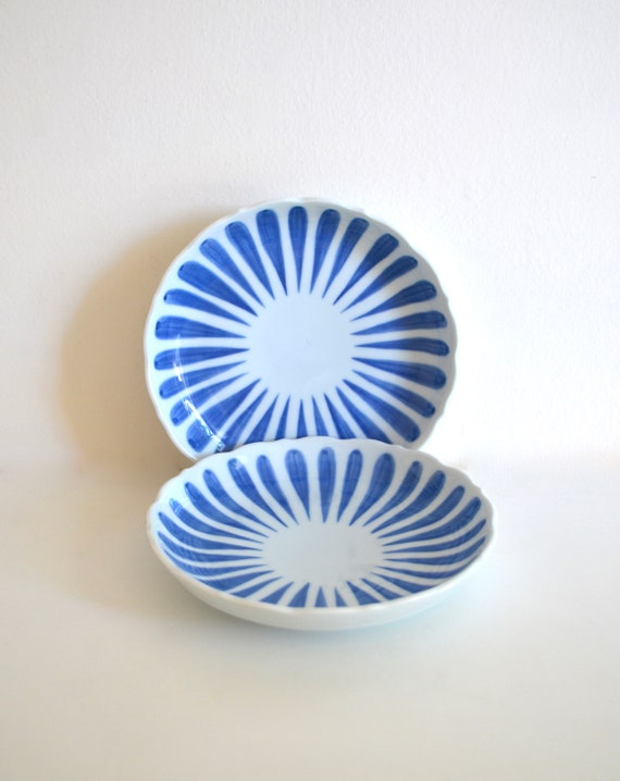 Vintage Pair of Japanese White and Blue Ceramic Plates