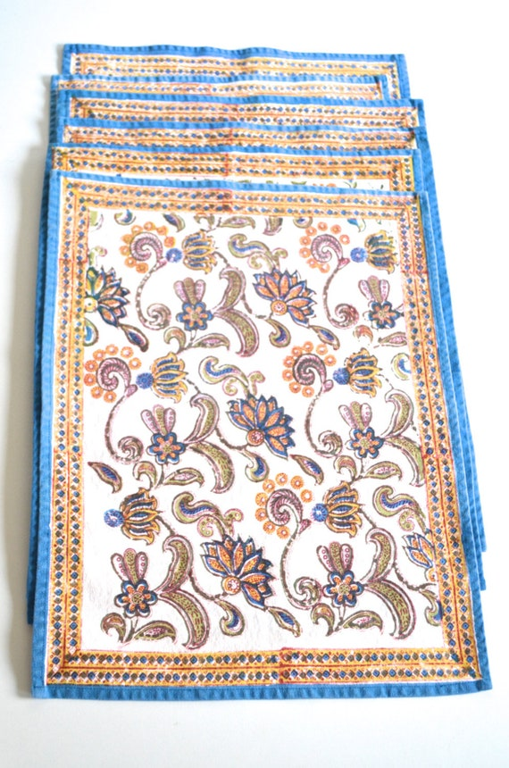Set of Six Vintage Indian Printed Placemats