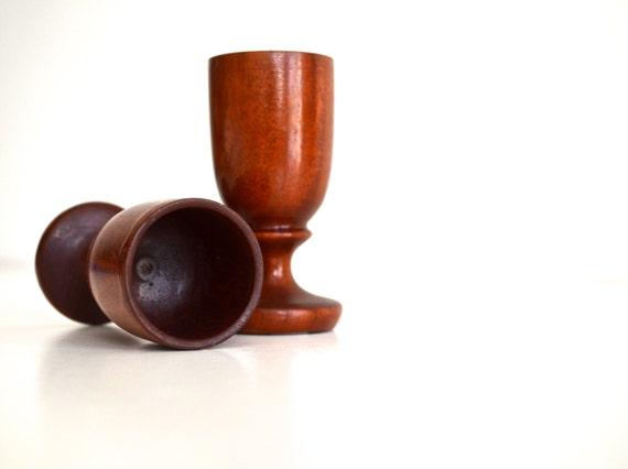 Vintage Pair of Carved Wood Egg Cups