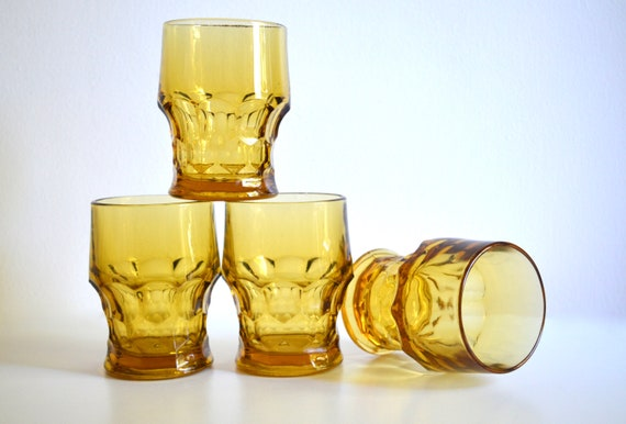 Set of Four Mid Century Viking Georgian Amber Water Glasses