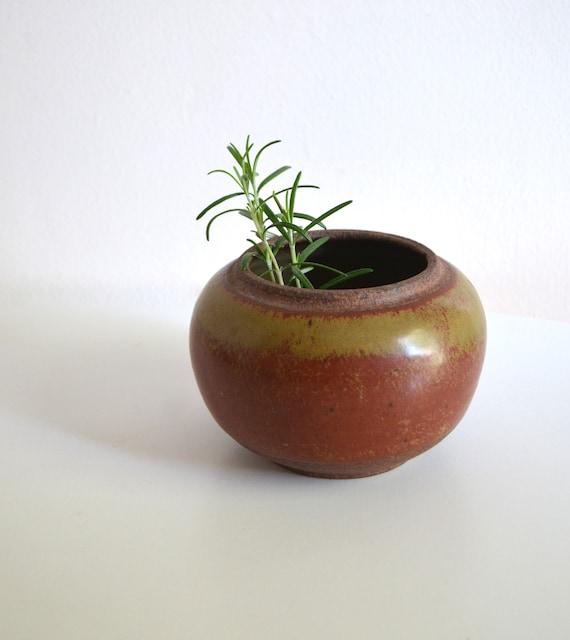 Vintage Studio Pottery Small Round Vase