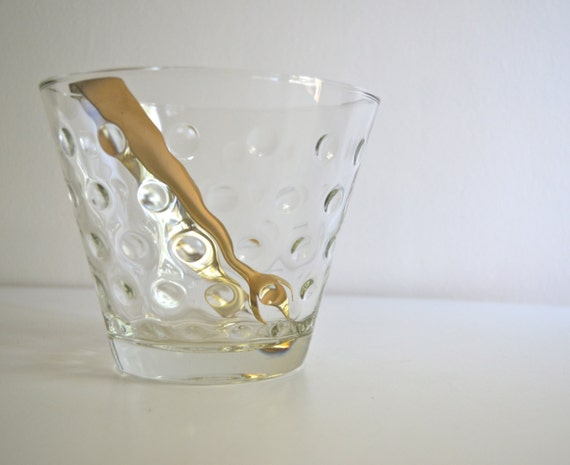 Vintage Dimpled Clear Glass Ice Bucket