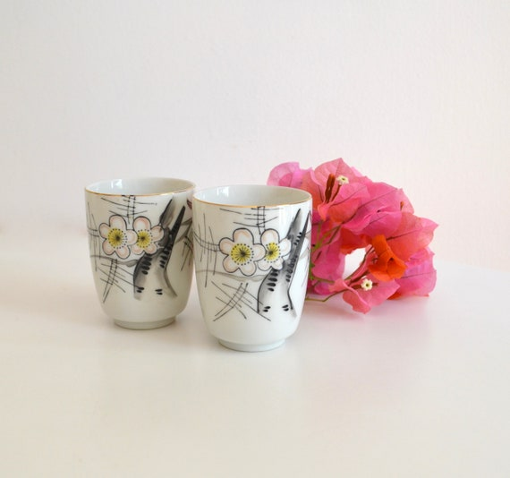 Vintage Pair of White Porcelain Japanese Cups