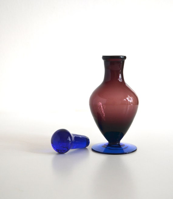 Small Vintage Purple and Blue Murano Glass Perfume Decanter