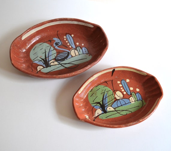Pair of Vintage Mexican Pottery Dishes