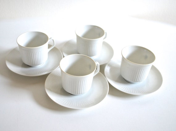 Vintage Set of Bavarian China Demi-Tasse Cups and Saucers