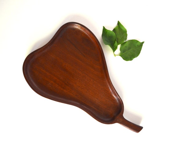 Vintage Pear Shaped Wood Tray