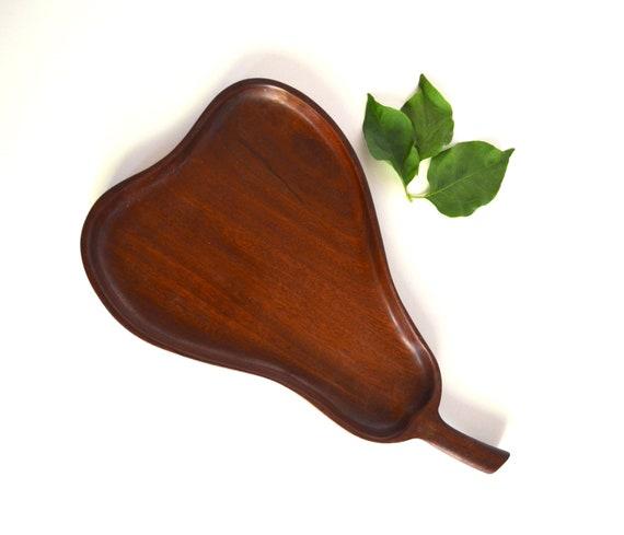 Vintage Pear Shaped Wood Tray