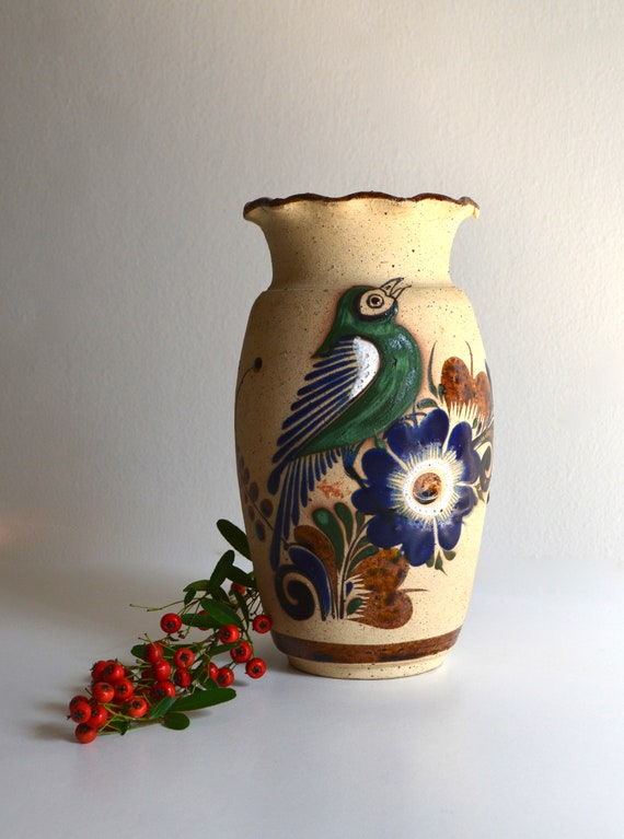 Vintage Mexican Bisque Fired Ceramic Vase with Green Bird