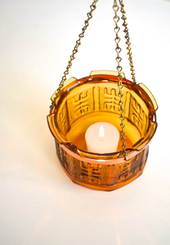 SALE * Amber Glass Asian Motif Hanging Votive