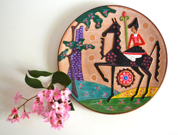 Vintage Ceramic Plate with Black Horse