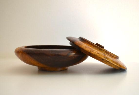 Vintage Large Covered Wood Bowl