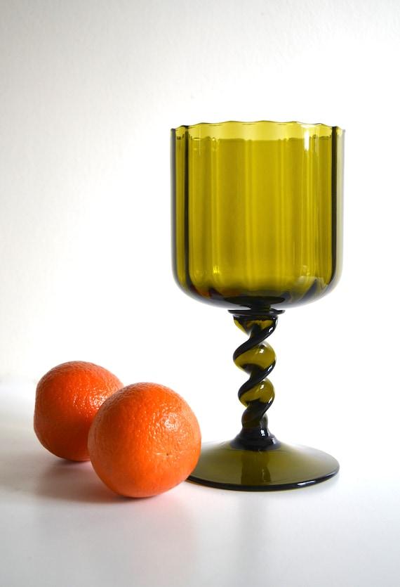 Vintage Avocado Green Glass Large Goblet