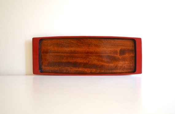 Vintage Red Trim Wood Rectangular Lacquered Tray