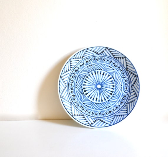 Vintage White and Blue Ceramic Plate